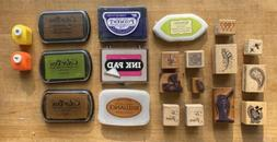 Mixed Lot of Decorative Rubber Stamps and Ink Pads Scrapbook