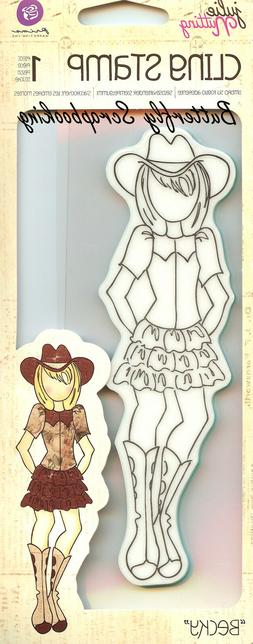 Mixed Media Doll Cling Rubber Stamps-Becky Cowgirl