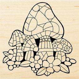 Mosaic Mushrooms, Wood Mounted Rubber Stamp STAMPENDOUS - Ne