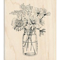 Inkadinkado Mounted Rubber Stamp 3.5X4-Floral Mason Jar