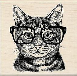 Inkadinkado Mounted Rubber Stamp 3X3-Nerdy Cat