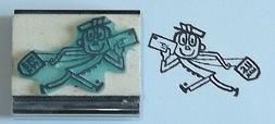 Mr Zip Mailman/Postal Carrier Running rubber stamp Amazing A