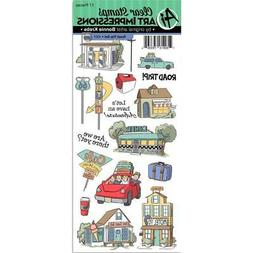 New Art Impressions CLEAR Rubber Stamp set ROAD TRIP TRAVEL