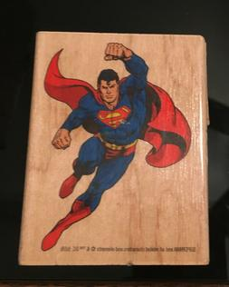 New Inkadinko Superman  Wood/Rubber Stamp Full Body W/Cape D