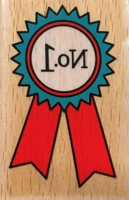 "New Katie & Co. Wood Mounted Rubber Stamp - ""No. 1""  Award W"