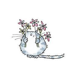 New Penny Black MERCI Wood Rubber Stamp Cat Kitty Flowers Bi
