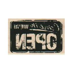 Mounted Rubber Stamp, Open Sign, Come In We're Open, Busines