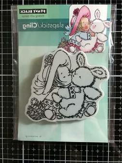 New Penny Black RUBBER STAMP BUNNY KISSES CHILD EASTER  clin