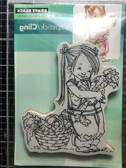 New Penny Black Rubber Stamp CARROT COLLECTOR GIRL garden cl