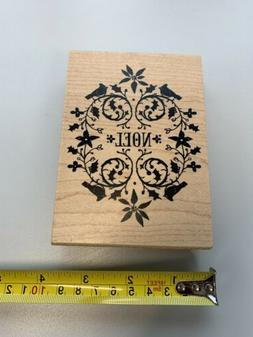 New Inkadinkado Rubber Stamp  Christmas NOEL bird flourish w