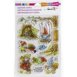 New stampendous RUBBER STAMP clear Acrylic GNOMING AROUND SE