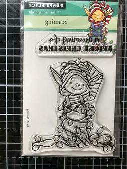 New Penny Black RUBBER STAMP clear CHRISTMAS BEAMING ELF Fre