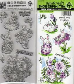 New ART IMPRESSIONS RUBBER STAMP clear cling set EASTER BLES