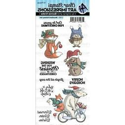 New  ART IMPRESSIONS Rubber Stamp clear cling WOODLAND HOLID