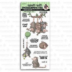 New ART IMPRESSIONS Rubber Stamp Clear set FUNNY FARM POSSUM
