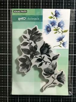 New Penny Black Rubber Stamp Cling AT GRACE  FLOWERS Free US