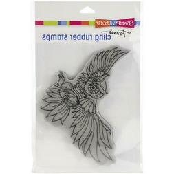 New Stampendous RUBBER STAMP cling  AUTUMN OWL SWOOP FALL Fr