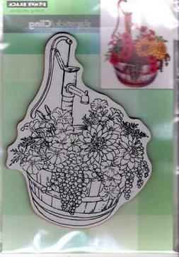 New Penny Black Rubber Stamp Cling BARREL OF BLOOMS FLOWERS