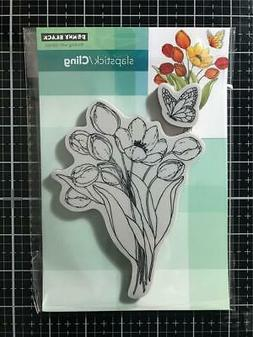 New Penny Black Rubber Stamp Cling FLUTTERBY SET TULIPS FLOW