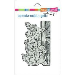 New Stampendous RUBBER STAMP cling FUNNY FARM ANIMALS free u
