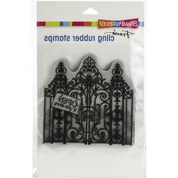 New Stampendous RUBBER STAMP cling  HALLOWEEN HAUNTED GATES