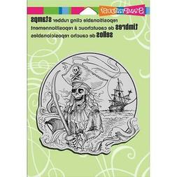 New Stampendous RUBBER STAMP cling HALLOWEEN PIRATE COVE  fr