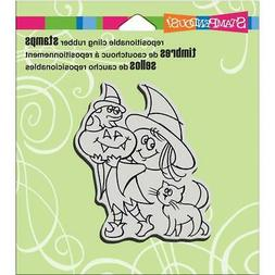 New Stampendous RUBBER STAMP cling HALLOWEEN WITCHY FRIENDS