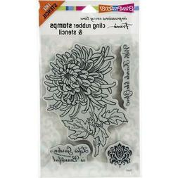 New Stampendous RUBBER STAMP cling JUMBO GARDEN MUM flower s