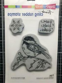 New Stampendous RUBBER STAMP cling WARM WINTER WISHES BIRD