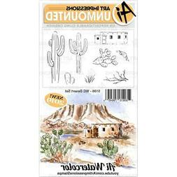New ART IMPRESSIONS RUBBER STAMP Cling WATERCOLOR DESERT SET