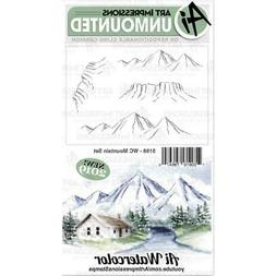 New ART IMPRESSIONS RUBBER STAMP Cling WATERCOLOR MOUNTAIN S