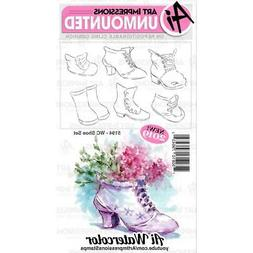 New ART IMPRESSIONS RUBBER STAMP Cling WATERCOLOR SHOE SET f