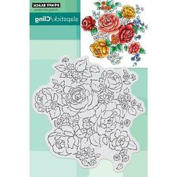 New Penny Black RUBBER STAMP FLORAL MEDLEY FLOWERS cling fre