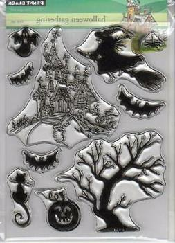 New Penny Black Rubber stamp HALLOWEEN GATHERING clear set F