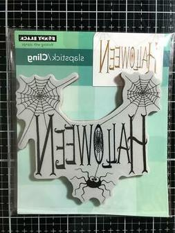 New Penny Black Rubber Stamp HALLOWEEN SPIDERY WISHES free U