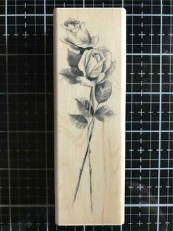 New Inkadinkado Rubber Stamp long stemmed pencil sketched Ro