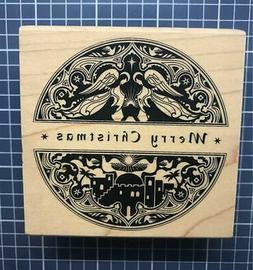 New Inkadinkado Rubber Stamp MINDSCAPE MERRY CHRISTMAS CIRCL