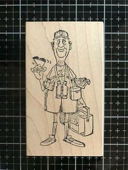 New Art Impressions Rubber Stamp OTIS THE TOURIST WOOD MNTD