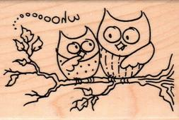 New STAMPENDOUS RUBBER STAMP Owl Friends two birds on branch
