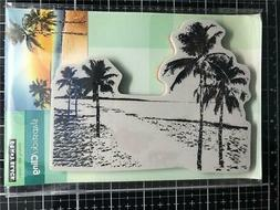 New Penny Black Rubber Stamp PARADISE PALM TREES  LANDSCAPE