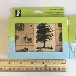 New Rubber Stamp Set Trees Deer Nature Inkadinkado