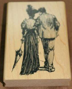 new rubber stamp strolling man and woman