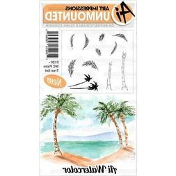 New ART IMPRESSIONS RUBBER STAMP watercolor PALM TREE SET Fr