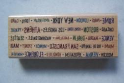 New Wood-Mount Rubber Stamp WORLD CITY AND CAPITAL NAMES Ink