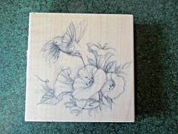 NEW Inkadinkado Wood Mounted Rubber Stamp - Hummingbird Flow