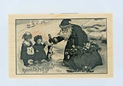 New Paper Inspirations Wood Mounted Rubber Stamp Santa Givin