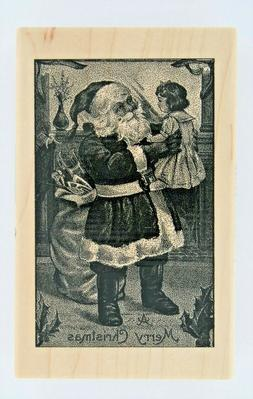 New Paper Inspirations Wood Mounted Rubber Stamp Santa and C