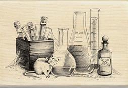 NEW Inkadinkado Wood Rubber Stamp Laboratory Rat Test Tubes