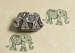 Blockwallah Ornate Elephant Wooden Block Stamp