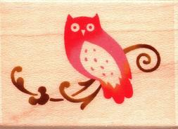 owl flourish wood mounted rubber stamp animals